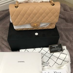 Handbags - Brand new beige Chanel classic medium flap bag .